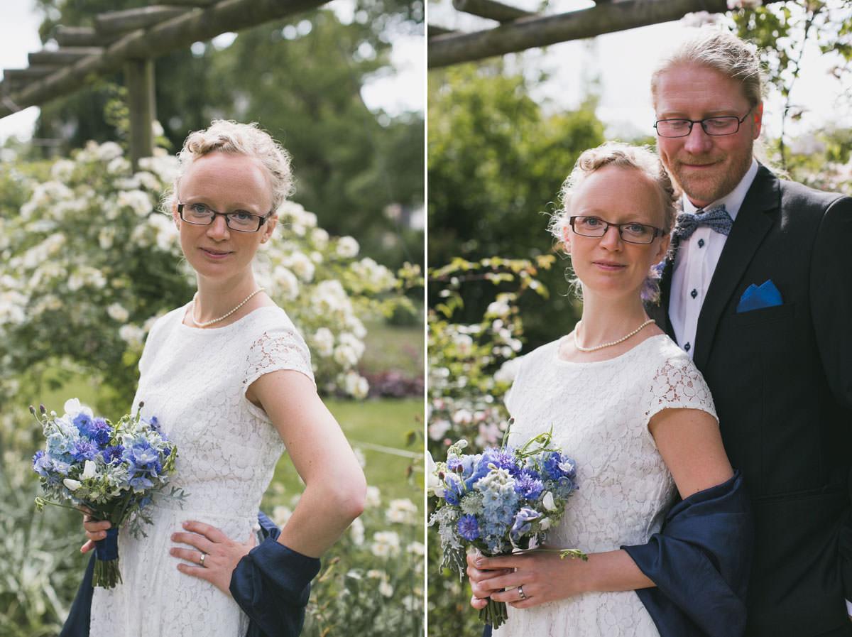 Diptyk med klassiska bröllopsporträtt. Bröllopsbuketten kommer från floristen Blomstrande Design. Foto: Tove Lundquist, bröllopsfotograf Lund och Skåne.