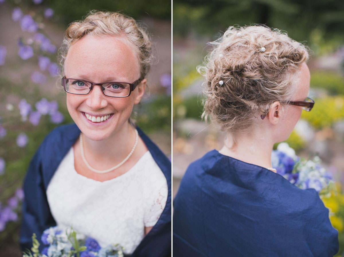 Diptyk med klassiskt brudporträtt samt håruppsättning i Botaniska Trädgården, Lund. Foto av Tove Lundquist, bröllopsfotograf Malmö och Lund.