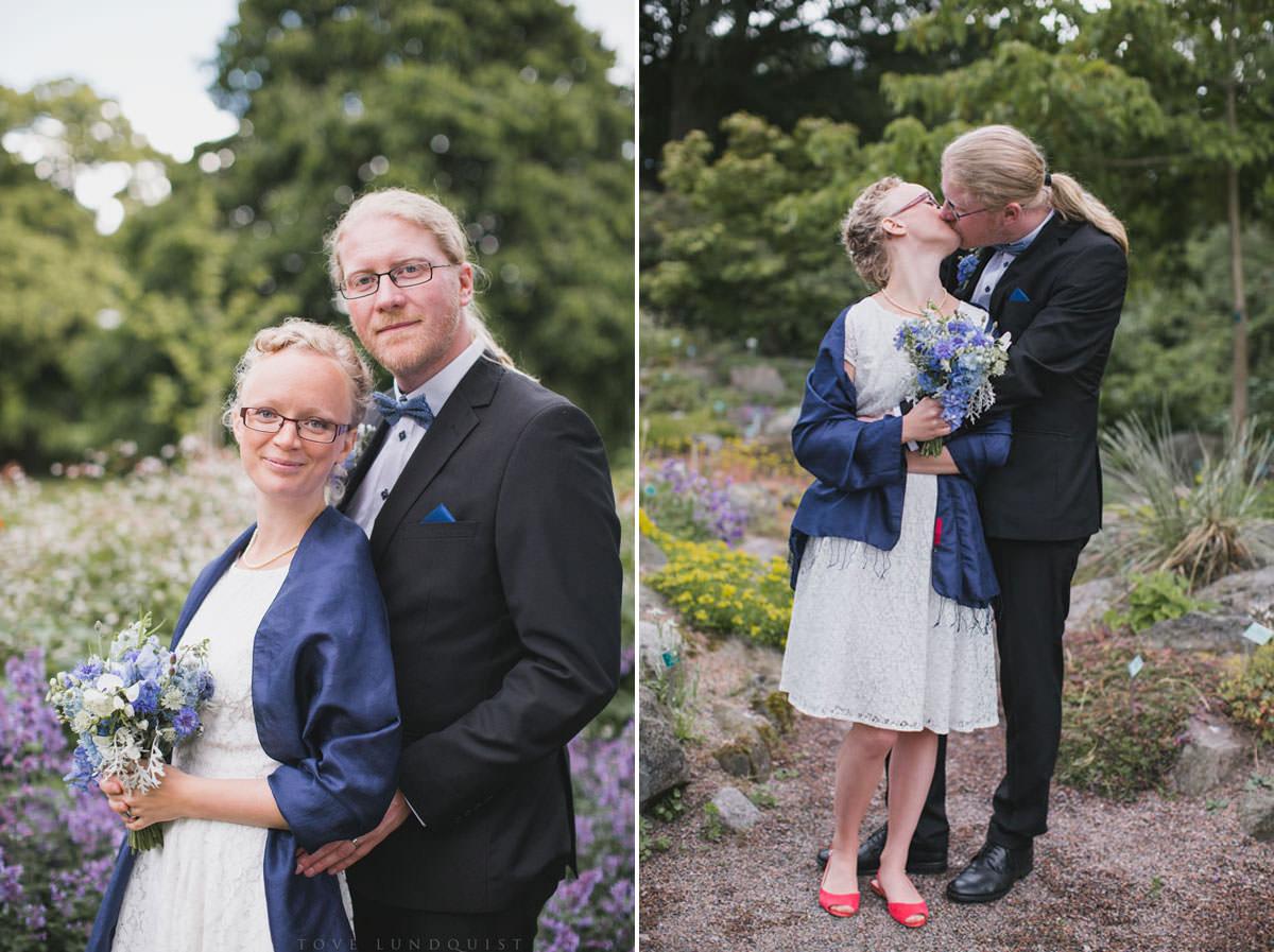Diptyk på brudpar i Botaniska Trädgården, Lund. Foto: bröllopsfotograf Tove Lundquist, Malmö.