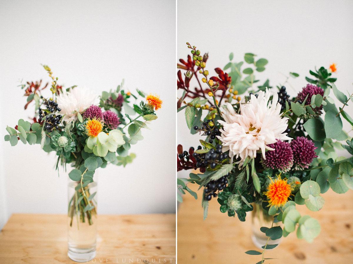Blommor från Florera, en miljömedveten blomsterbutik som ligger vid S:t Knuts torg, Malmö. Foto: Tove Lundquist, bröllopsfotograf Malmö.