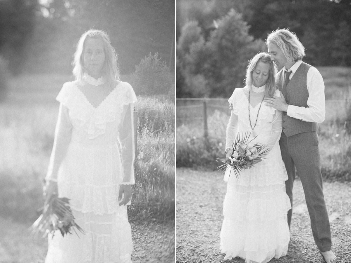 Svartvit diptyk på vintage brudklänning, tilt-shift objektiv. Foto: Tove Lundquist