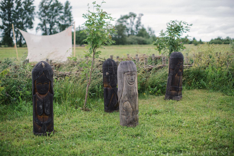 Detaljer på arkeologiska friluftsmuseumet VikingaTider, Löddeköpinge - Skåne.