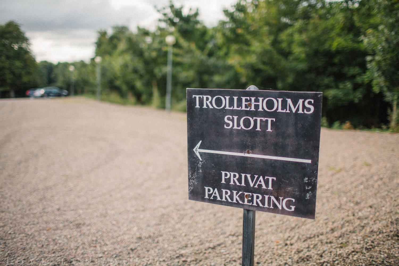 Skylt på Trolleholms slott i Skåne.