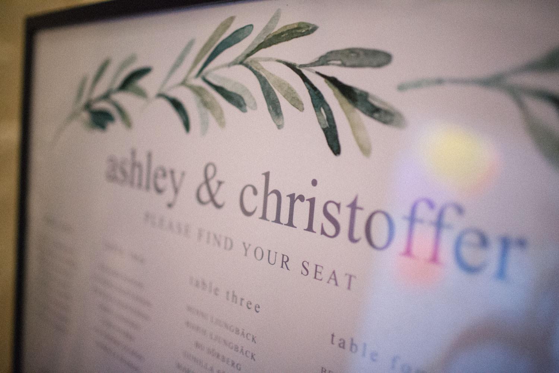 Foto på en tavla med gästers namn inför bröllopsmiddagen.