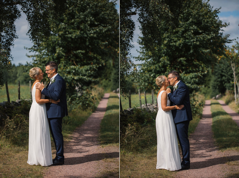 Porträtt på brud samt brudgum på vackra Lövö, bröllopet skedde i Mönsterås.