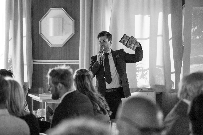 Toastmasters tal under ett bröllop på Torpalängan, Smygehamn.