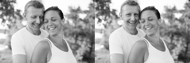 Somrig diptyk på ett skrattande par under en Beloved fotografering i Ernemar, Oskarshamn. Foto av Tove Lundquist som är fotograf i Oskarshamn och Malmö.