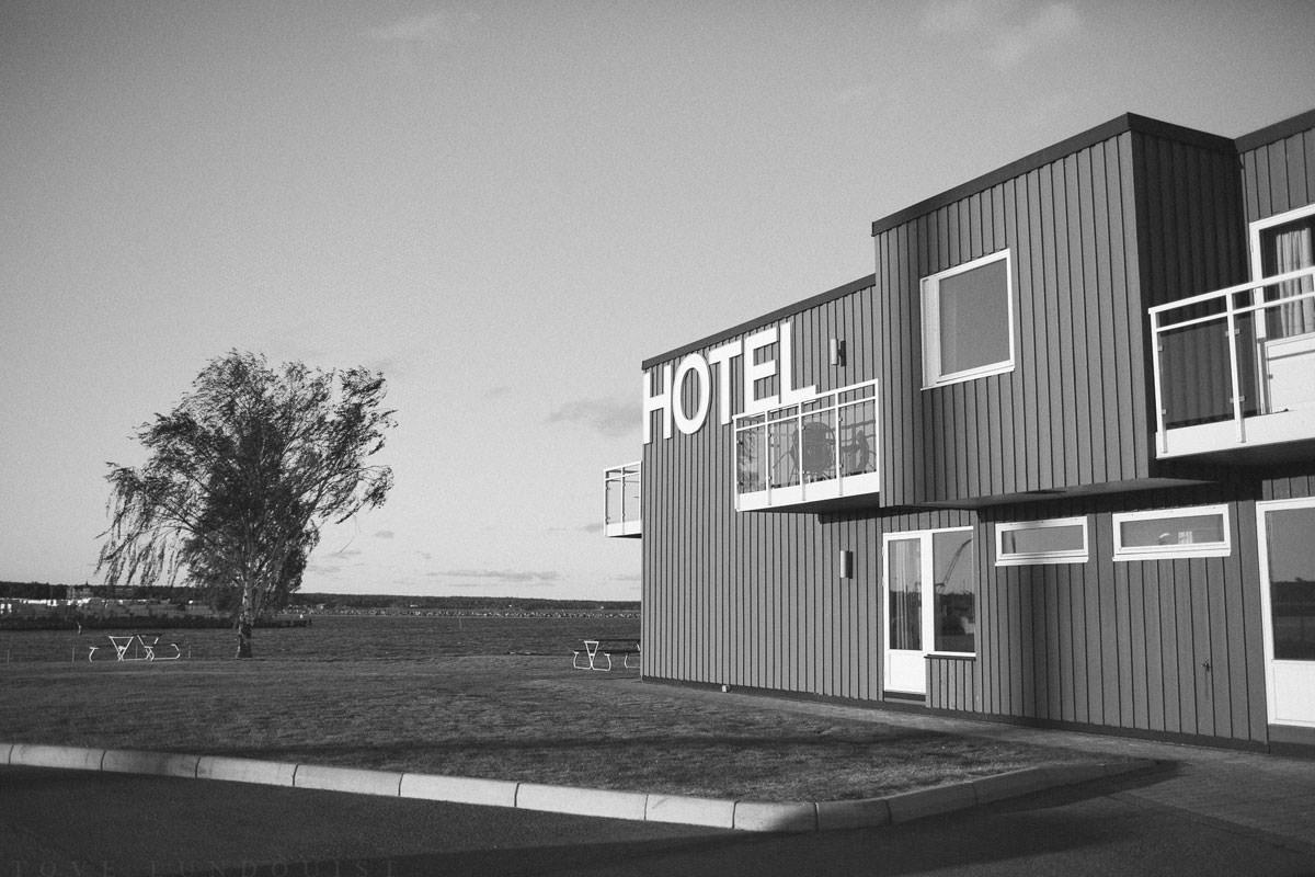 Svartvit foto på Hotell Corallen, Oskarshamn.