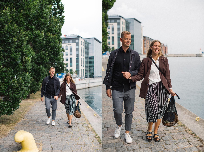 Urban parfotografering inför bröllop tillsammans med bröllopsfotograf Tove Lundquist, Skåne. Plats är Västra Hamnen i Malmö.